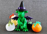 Witch Dragon Among the Pumpkins