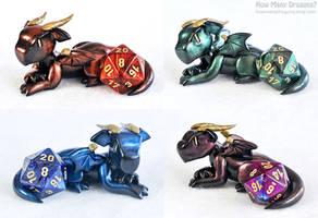 Metallic D20 Guardian Dragons