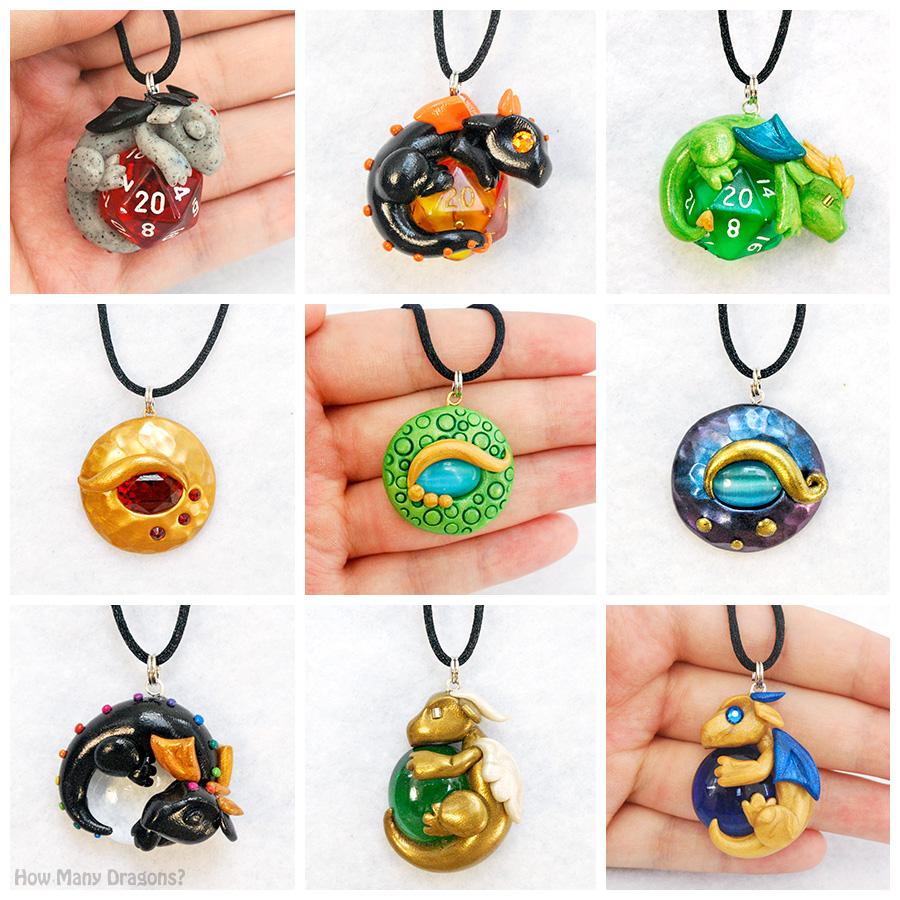 Clay Dragon Pendants