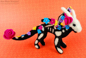Day of the Dead Felted Skeledragon