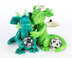 Green Mini D20 Dragon Couple by HowManyDragons