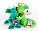 Green Mini D20 Dragon Couple