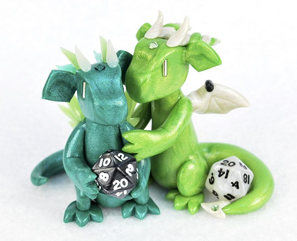 Green Mini D20 Dragon Couple