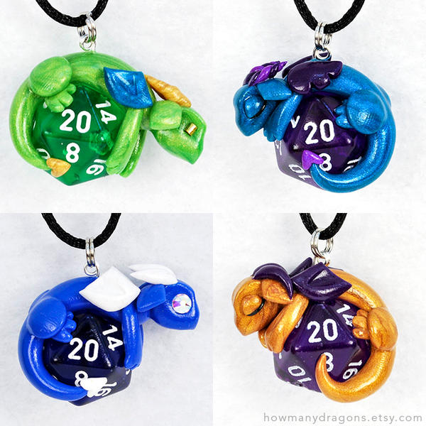 Available D20 Dragon Pendants