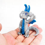 Waving Silver Glitter Dragon