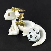 White Pearl Dice Guardian Dragon by HowManyDragons