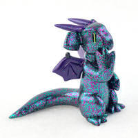 Teal and Purple Glitter Dragon by HowManyDragons
