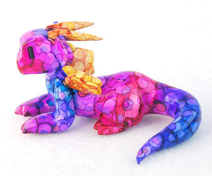 Pink and Purple Ink-Painted Dragon