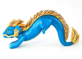Leaping Blue and Gold Chinese Dragon by HowManyDragons
