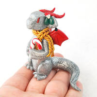 Silver Glitter Candy Cane Dragon by HowManyDragons