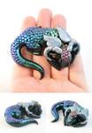 Sleeping Black Metallic Aurora Dragon