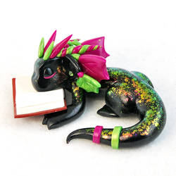 Sleeping Green and Pink Book Dragon by HowManyDragons