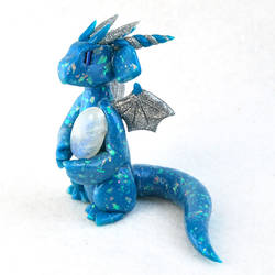 Blue Opal Dragon with Moonstone by HowManyDragons