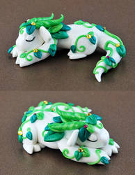 Sleeping White Vine Dragon by HowManyDragons