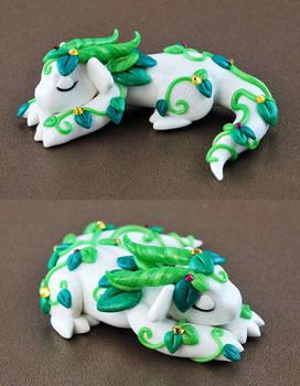 Sleeping White Vine Dragon by HowManyDragons