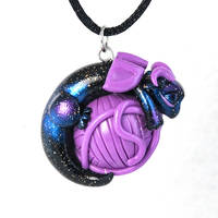 Baby Yarn Ball Dragon Necklace by HowManyDragons