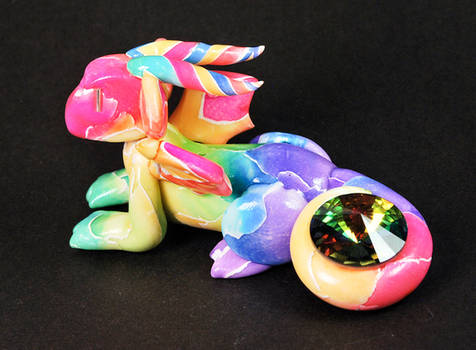 Rainbow Mosaic Dragon with Gem