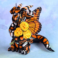 Monarch Butterfly Dragon with Bouquet