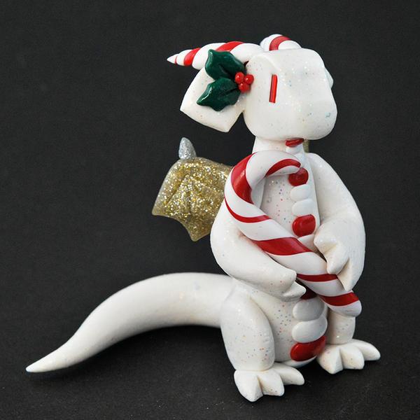 White Glitter Candy Cane Dragon