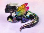 Black Rainbow Fairy Dragon by HowManyDragons