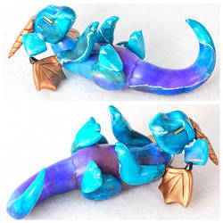 Blue and Copper Reclining Dragon