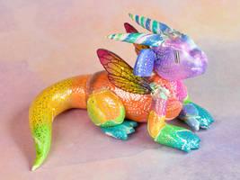 Rainbow Watercolor Fairy Dragon