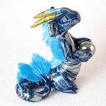 Blue-Silver Swirl Noodle Dragon
