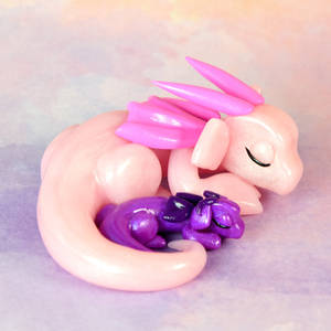 Sleeping Pink and Purple Dragon Duo