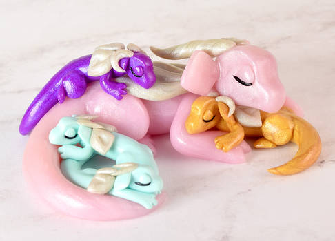 Colorful Sleeping Mother and Baby Dragons