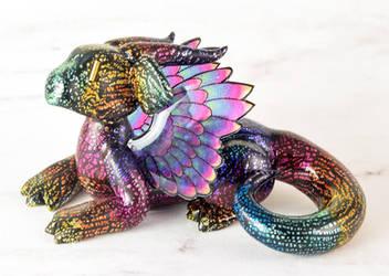 Black Rainbow Feathered Dragon