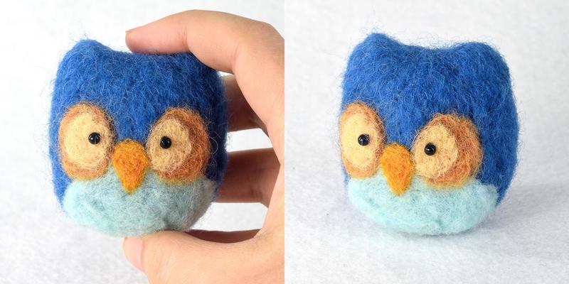 Blue Needle Felted Owl