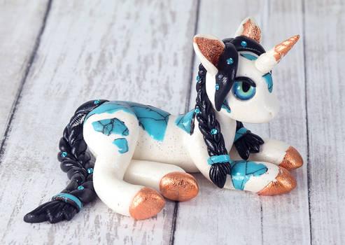 White, Turquoise and Copper Unicorn