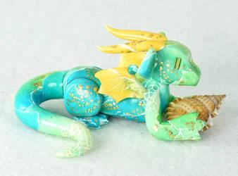 Watercolor-style Seashell Dragon