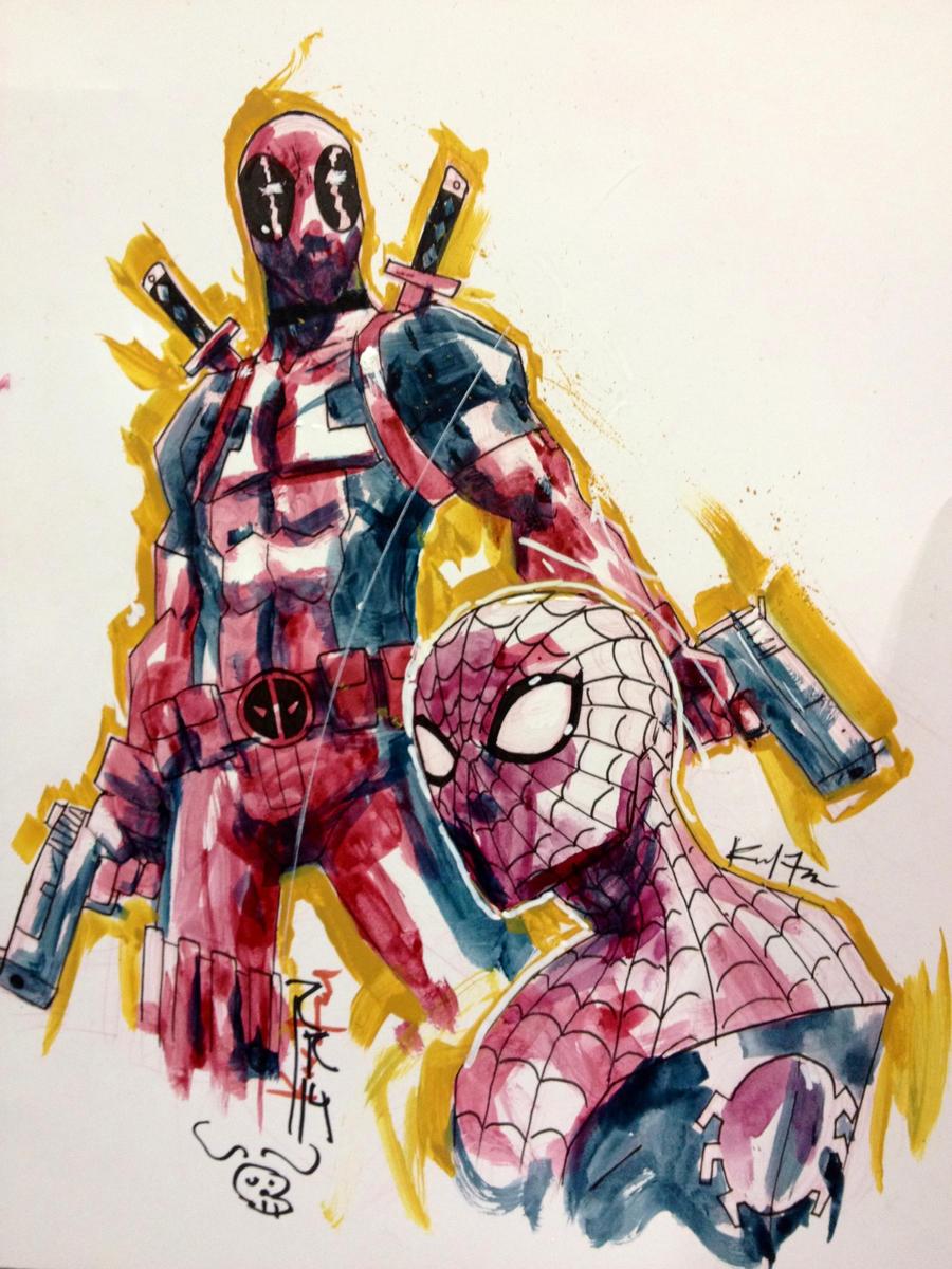 Deadpool + Spidey by kawoXD