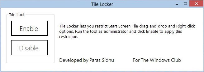 Lock Windows 8 Tiles Using Tile Locker