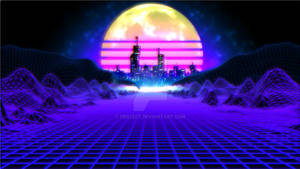 Retro Grid landscape with city and moon