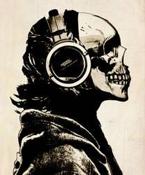 Skull and Headphones by hiddenmoves