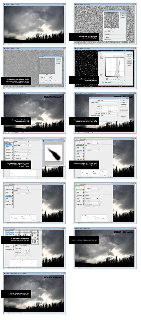 Rain tutorial - Photoshop by mxade
