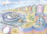 Tatty Teddy seaside scene