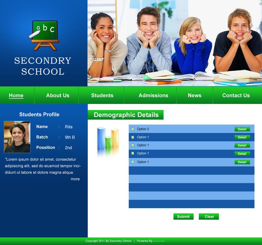 School Web Template. templates psd templates school websites ...