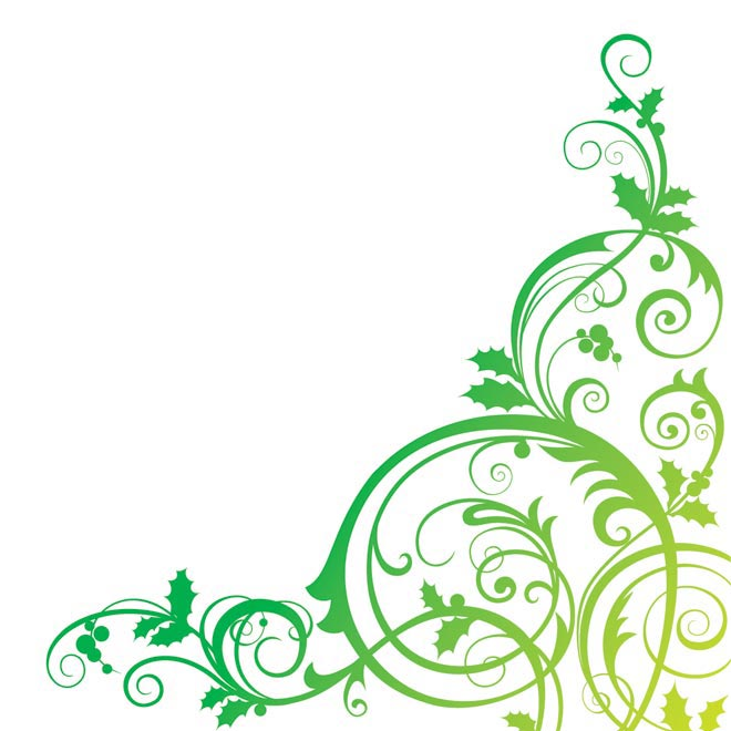Green Flower Line Drawing : Floral background green vector illustration by cgvector on