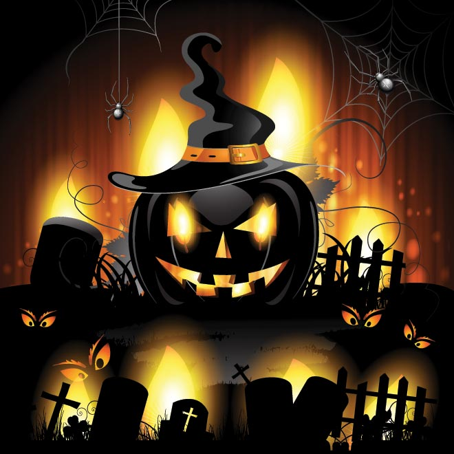 free vector glowing spooky pumpkin halloween wallp by cgvector - Spooky Halloween Pictures Free