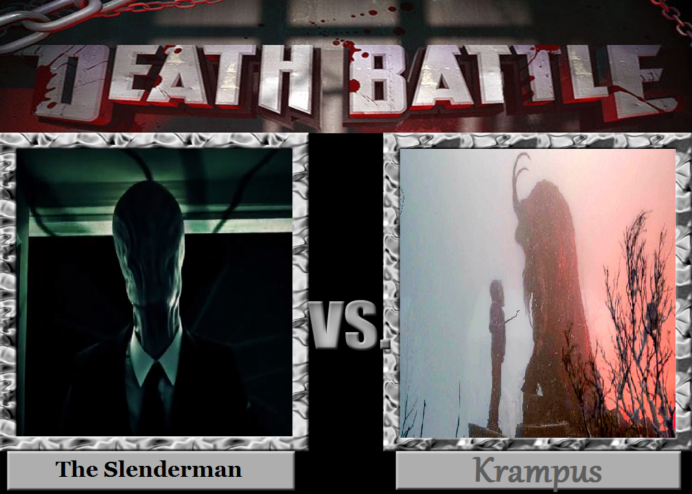 Slenderman Vs Krampus by wolfthepredator
