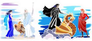 Varda-Manwe _ Melkor-Mairon_greek mythology style by EPH-SAN1634