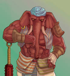 Dungeons and Dragons Loxodon Warrior Commission