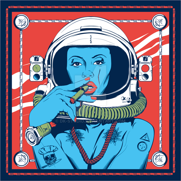 Space Silk Scarf design by DK-Studio