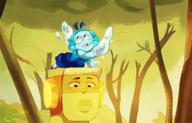 Steven Universe Topaz and Aquamarine Redraw