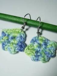 Blue and green earrings by KooKooCraft