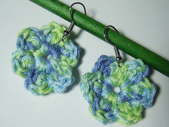 Blue and green floral earrings by KooKooCraft