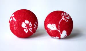 Red handmade stud earrings by KooKooCraft